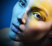 Blue eye makeup ice - cold sensual Royalty Free Stock Photo