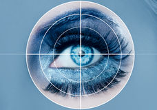 Blue eye makeup macro pupils recognition sensor Stock Image