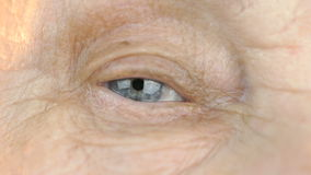 Blue eye of middle-aged woman. Close up stock video