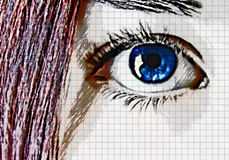 Blue eye and red hair. Sketch Stock Images