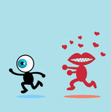 The blue eye runaway The red mouth Royalty Free Stock Images