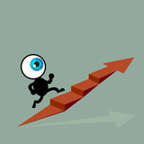 The blue eye running to top of graph path arrow Stock Image