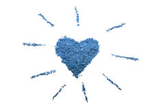 Blue eye shadows. Blue eyeshadows  heart shaped on the white background Stock Photography