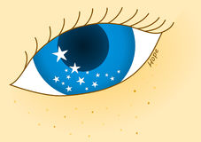 Blue eye with stars Hope royalty free illustration