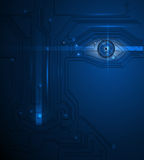 Blue eye technology  circuit board background Royalty Free Stock Photography