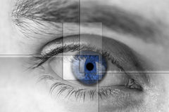 Blue eye with virtual hologram. Royalty Free Stock Images
