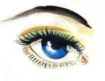 Blue eye. Watercolor sketch of a blue eye Royalty Free Stock Image