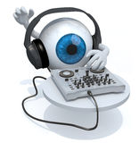 Blue Eyeball with dj headset in front of consolle Stock Photo