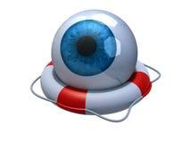 Blue eyeball in lifebuoy. Over white, 3d illustration Stock Image