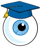 Blue eyeball wearing a graduation cap Stock Photos
