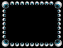 Blue eyeballs frame on black Stock Images