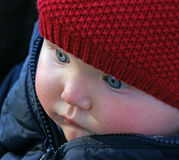 Blue-Eyed Baby. An infant girl with bright blue eyes is bundled up in her stroller outdoors in the fresh air Royalty Free Stock Image