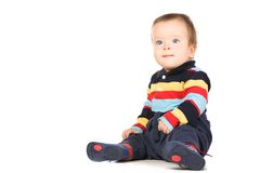 The blue-eyed baby, close-up. Royalty Free Stock Photography