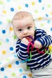 The blue-eyed baby. Funny cute blue-eyed baby. Little boy astonished stock image