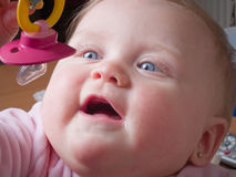 Blue-eyed Baby grabbing binky. Pink pacifier Royalty Free Stock Photography