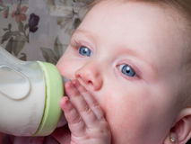 Blue-eyed Baby sucking bottle Royalty Free Stock Photo