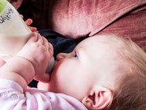 Blue-eyed Baby sucking bottle. Looking at camera stock photos