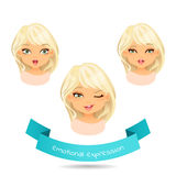 Blue eyed blonde with different facial expressions. Set of different emotion: winks, laugh, licking lips. Cartoon girl with different expressions of emotion Stock Image