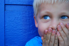 Blue eyed boy. Against blue wall royalty free stock image