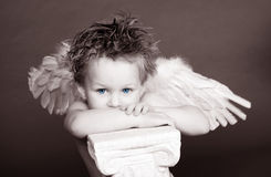 Blue Eyed Cherub. Blue Eyed Angel with Pillar royalty free stock photos