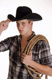 Blue-Eyed Cowboy Tips His Hat Royalty Free Stock Photos