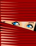 Blue-Eyed Girl Looks Because Of Red Jalousie. Vector Illustration. No Meshes Royalty Free Stock Photo