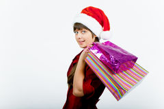 Blue-eyed girl with a New Year Shopping Stock Photography