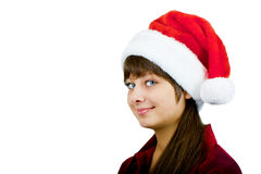 Blue-eyed girl Santa Stock Image