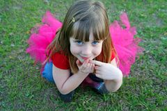 Blue eyed girl with tutu. Young girl with blue eyes in pink tutu royalty free stock photos