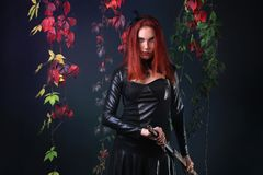 Blue Eyed Red Head Gothic Girl Pulling out a fantasy sword among autumn vines.  Royalty Free Stock Image