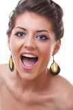 Blue eyed woman screaming Royalty Free Stock Photo