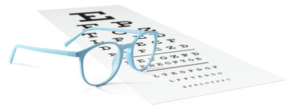 Blue eyeglasses on visual test chart isolated on white. Eyesight. Concept Stock Photo