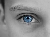 Blue eyes. Macro shot of blue man's eye, black and white Royalty Free Stock Images