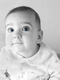 Blue Eyes. Bw slightly soft focus of baby with bue eyes Royalty Free Stock Photo