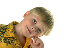 Blue eyes. The boy with blue eyes royalty free stock photos