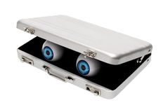 Blue eyes in aluminium briefcase Stock Photography