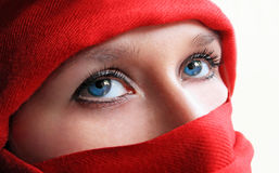 Blue eyes arabic woman Stock Photography