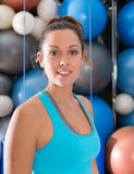 Blue eyes beautiful girl smiling at gym portrait Stock Photography
