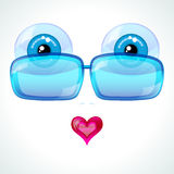 Blue eyes, blue sunglasses and a pink heart. Stock Photography