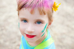 Blue eyes  children girl  pinted face makeup Royalty Free Stock Images