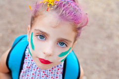 Blue eyes  children girl  pinted face makeup Royalty Free Stock Image