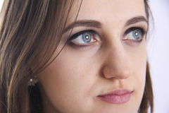 Blue eyes. Clean skin and blue eyes wirh makeup Royalty Free Stock Image