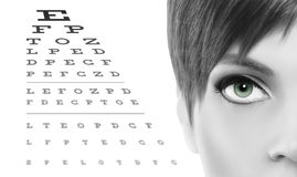 Blue eyes close up on visual test chart, eyesight and eye examin. Ation concept in white background Stock Image