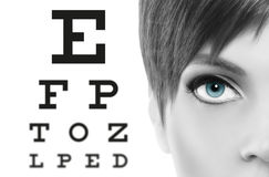 Blue eyes close up on visual test chart, eyesight and eye examin. Ation concept in white background Royalty Free Stock Photography