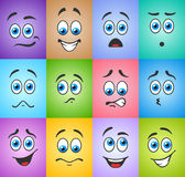 Blue eyes in different emotions on colored background Royalty Free Stock Image