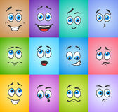 Blue eyes in emotions on colored Stock Photography