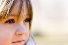 Blue Eyes Gazing Into Distance Stock Images