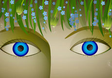 Eyes of summer,. Blue eyes girl close up, under the field flower, vector Stock Photography