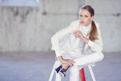 Blue eyes girl in a white clothes. royalty free stock images