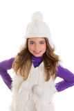 Blue eyes happy child kid girl with white winter cap Royalty Free Stock Photos